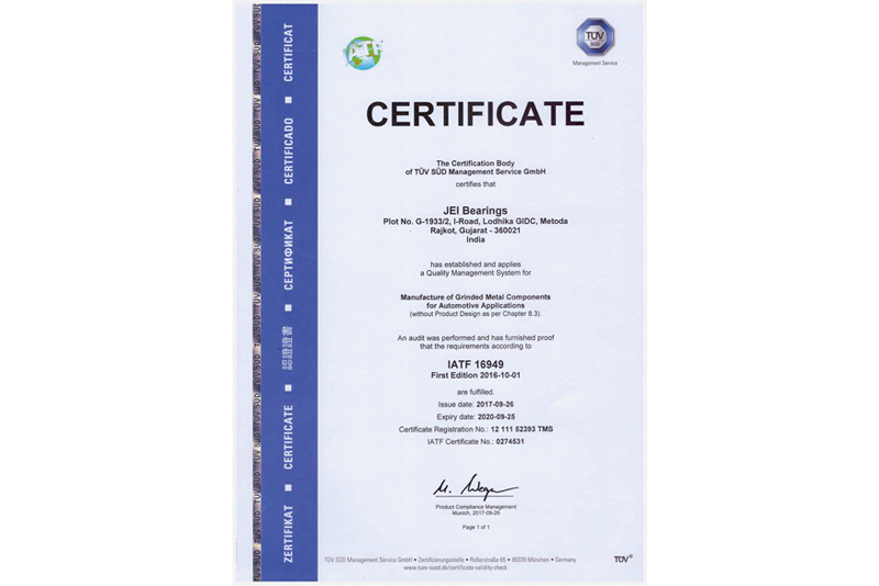 JEI Bearings Certificates & Achievements
